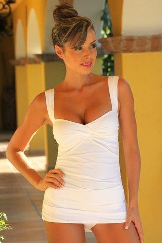 White Marilyn Tankini - Swimwear from Body Body Sizes S to DD-Cup.