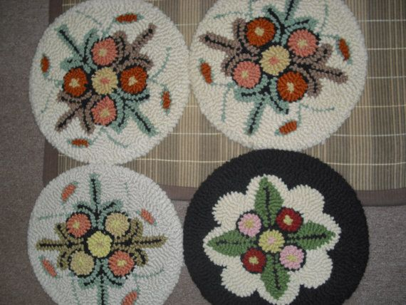 Vintage Hand Hooked Chair Pads, Rug Hooking Chair Pads