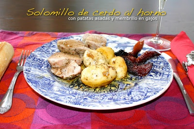 Roasted pork tenderloin with potatos and quince