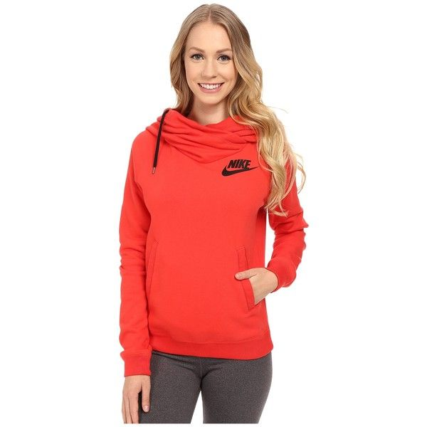 Nike Rally Funnel Neck Hoodie Women's Sweatshirt ($65) ❤ liked on Polyvore featuring tops, hoodies, nike hoodie, long hoodie, red hoodie, red sweatshirt and pullover hoodie sweatshirt