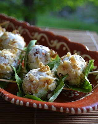 Basil Wrapped Goat Cheese Balls
