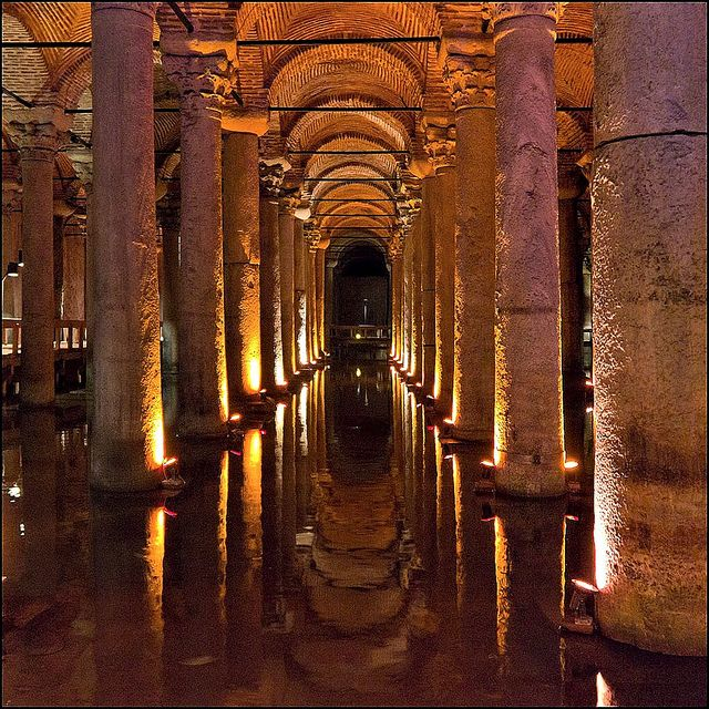 Istanbul, Istanbul, TR.|Originally built in the year 532, Yerebatan Cistern (or Basilica or St. Sophia) is one of the most spectacular and beautiful monuments of the city, but is also one of the most unknown.  Many tourists barely know of  its existence.  It was opened to the public in 1987.