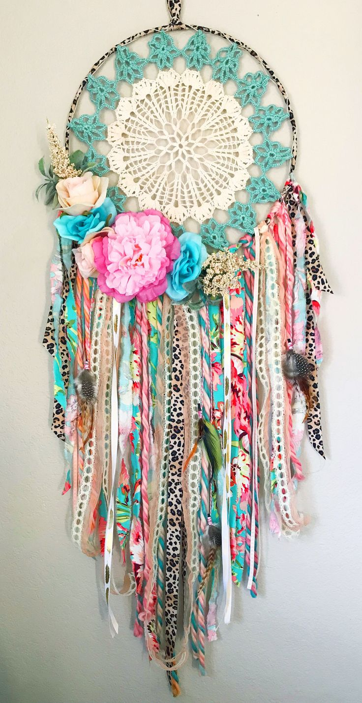 Handmade boho dream catcher for girls room or nursery. Pink coral turquoise bohemian bedroom decor. Boho baby shower Poetry Tea #kidsroomsdecorboho