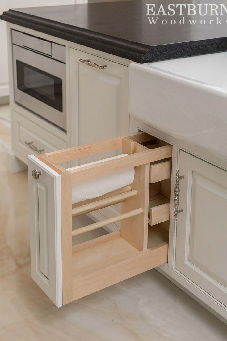 Custom Built In Paper Towel Holder Inside Of White Kitchen