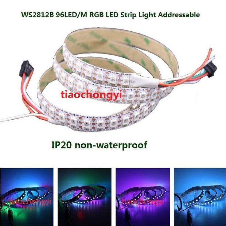 1M WS2812B WS2812 RGB LED Strip 96Led Individual Addressable 5V White PCB  IP20 #Affiliate