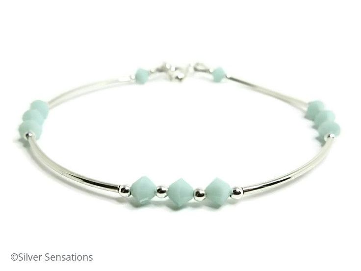 For this elegant green handmade bangle style bracelet I chose Swarovski Crystals in a pretty pastel mint green shade. Such a feminine colour. #weddinghour #brumisbrill #bridesmaids