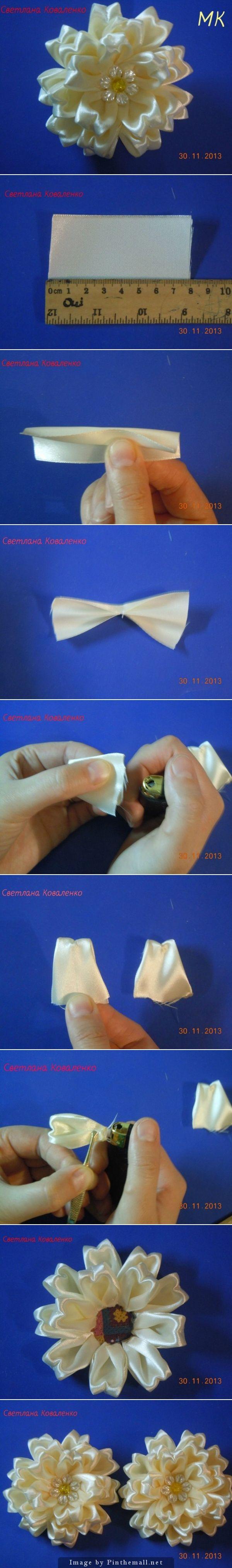 http://www.fabartdiy.com/how-to-make-special-kanzashi-satin-ribbon-flower/ - created via http://pinthemall.net