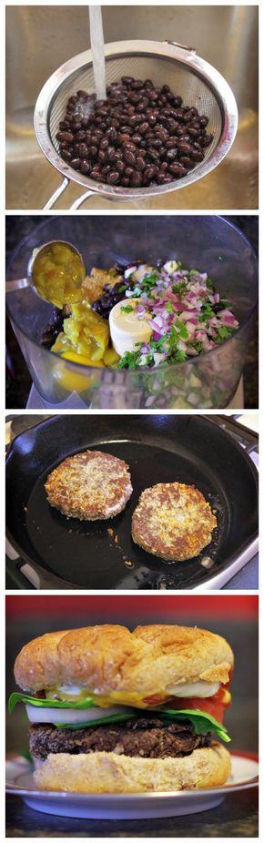 Ingredientes:1 15 oz. de frijoles negros,1/4 taza de cilantro,hojas frescas,1 diente de ajo,2 cucharadas de chiles verdes,1/4 taza de cebolla roja Refrigerada, 1 huevo,1 cucharada de jugo de limón, recién exprimido,1/4 cucharadita de pimienta, 1/2 cucharadita de sal,frutos secos y semillas,3/4 cucharadita de comino,Pan y productos horneados,5/8 taza de Panko. ¡La comida es muy rápido y fantástico!