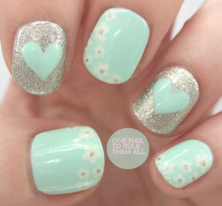 Mint Flower Heart Nails, Donu0027t Like The Flowers Though
