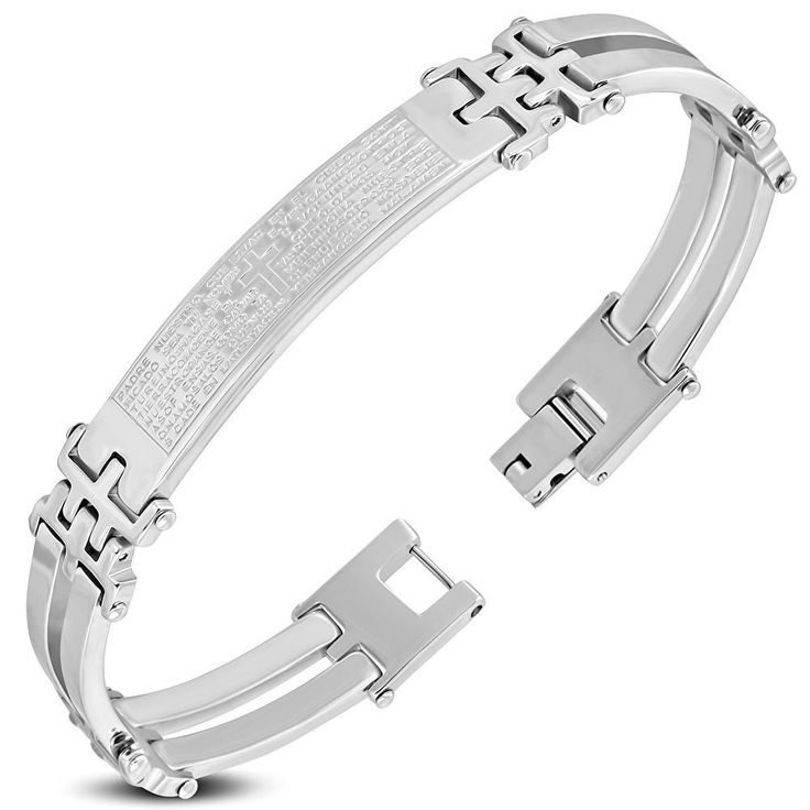 Stainless Steel Silver-Tone Padre Nuestro Prayer Spanish Mens Bracelet, 8""