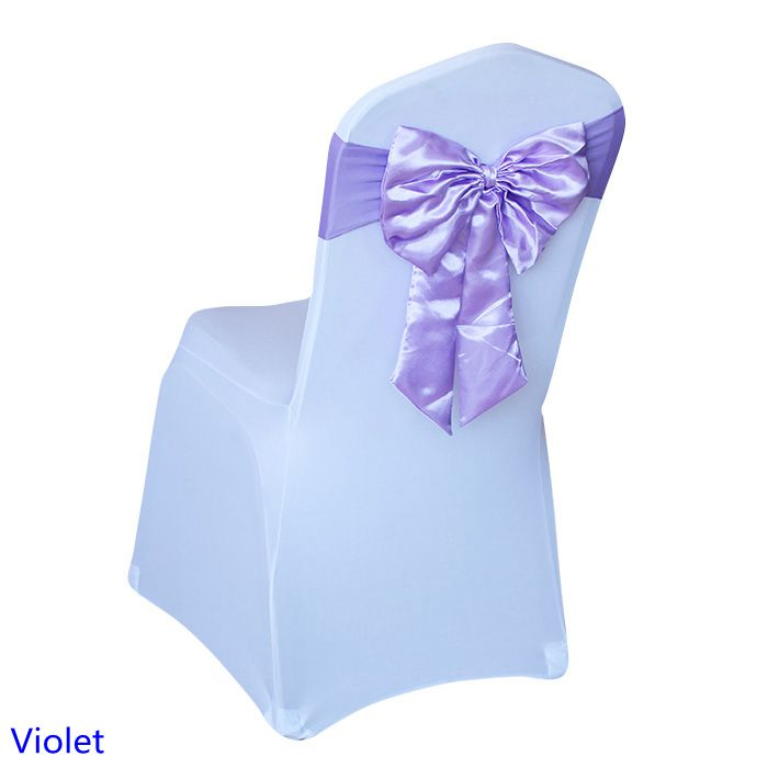 Violet lilac colour chair sash Butterfly style satin sash with lycra sash fit all chairs spandex wedding chair sash wholesale