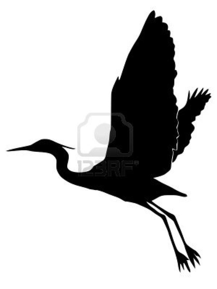 Heron black silhouette