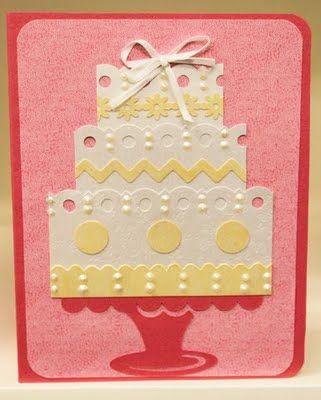 Make your own wedding cake card using Martha Stewart or EK success border punches and Viva Decor Pearl Pens! #Wedding, #Card, #Cake