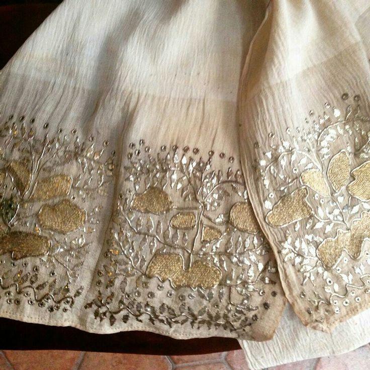 Ottoman Turkish Embroidered Towel-Antika tel sarma peşkir