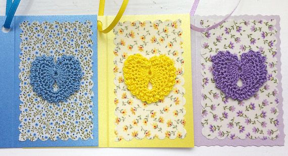 Textile gift tags fabric gift tags crochet gift tags heart