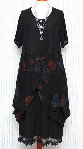 SARAH SANTOS DIVERSE 100% LINEN MAXI DRESS BLACK & MULTICOLOUR QUIRKY LAGENLOOK