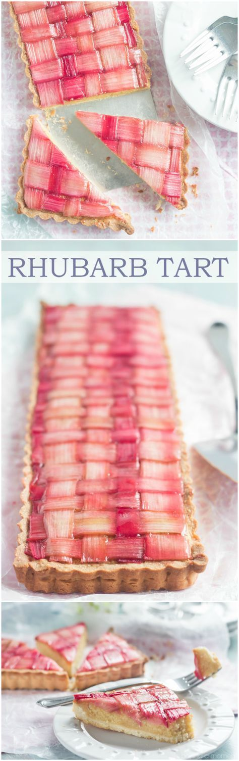 Gorgeous Rhubarb Tart with almond frangipane filling and buttery shortbread crust. ~ http://bakingamoment.com?utm_content=buffera1566&utm_medium=social&utm_source=pinterest.com&utm_campaign=buffer