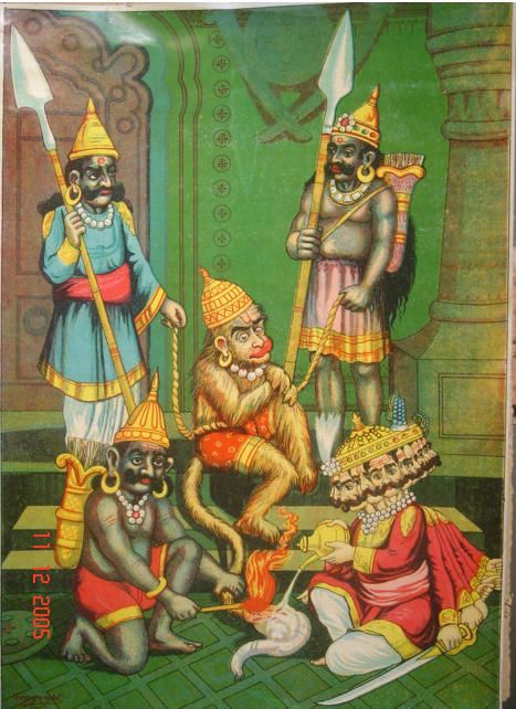 powermeditation:  Hanuman allows himself to be captured by Ravana (King of Lanka), who sets his tail on fire - Bazaar Art 1910's