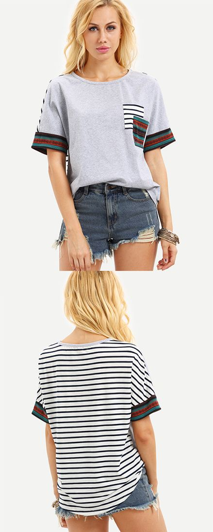 Multicolor Short Sleeve Stripe Back Pocket T-shirt