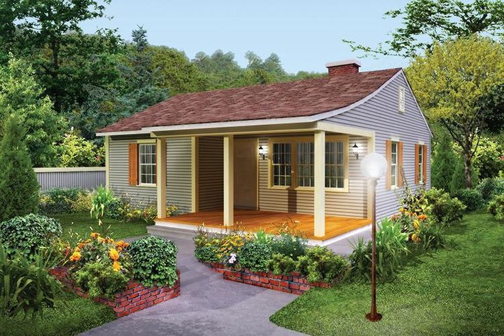 HOUSE PLAN 5633-00322 – This simple and charming Country house plans showcases a lovely exterior and interior intentional living. There are two bedrooms and one bath in approximately 733 square feet of living space, perfect for a small and/or narrow lot.