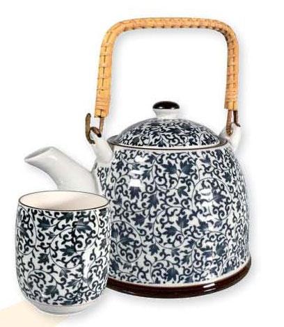 Kék virágmintás teás készlet | tea.hu