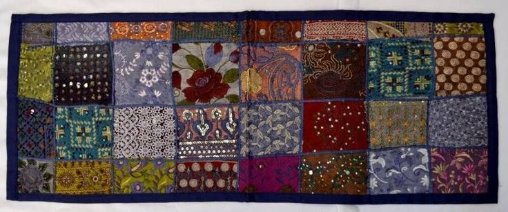 Indian Sari Table Runner/Wall Hanging  97cm x 36cm Blue vintage unique ethnic $26.98