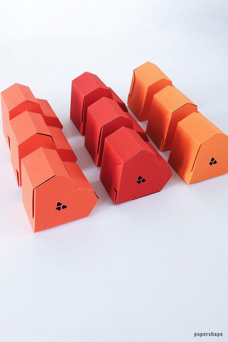 DIY-Papier Basteltipp: Herz Geschenkbox mit Gratisvorlage von #papershape #pa …