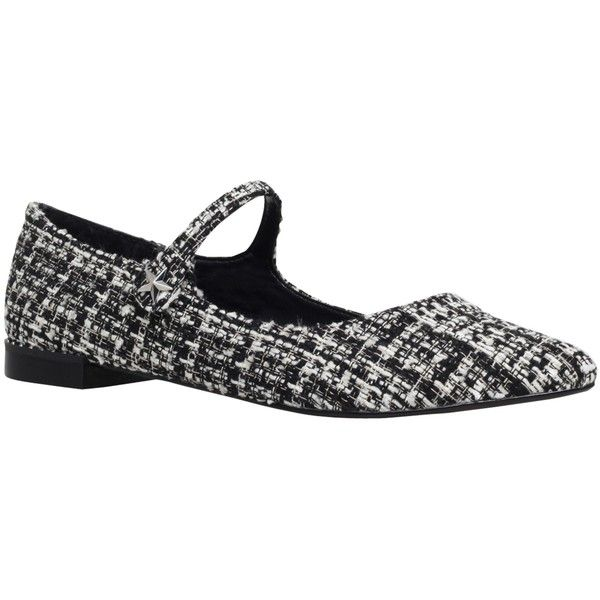 KG by Kurt Geiger Kingdom Ballet Pumps , Black/White Fabric (145 CAD) ❤ liked on Polyvore featuring shoes, pumps, black and white pumps, low pumps, metallic pointed toe pumps, block-heel pumps and flat pumps