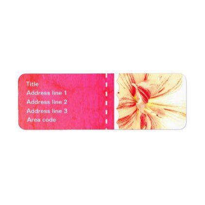 Striped Amaryllis Flower Custom Wedding Label - return address labels label diy personalize cyo unique design custom