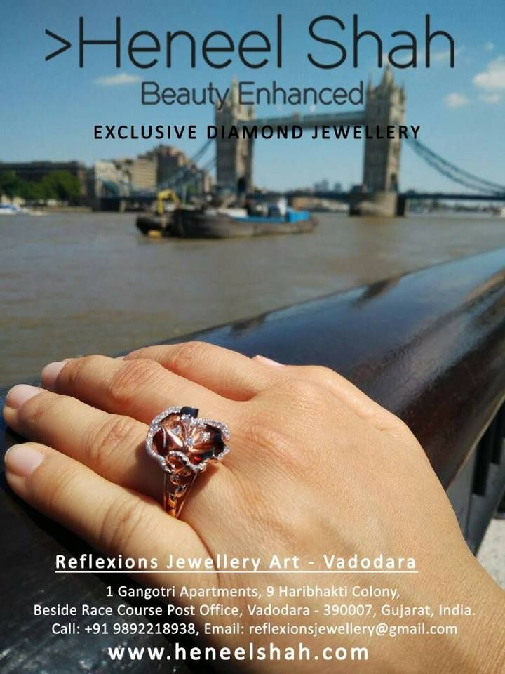 Our Exclusive LONDON COLLECTION. With the touch of creativity and fine craftsmanship, to enhance you with extreme ROYALNESS.  By Heneel Shah From Reflexions Jewellery Art.  YOUR BEAUTY . WE ENHANCE.  Inquire Now: http://www.heneelshah.com/inquiry.html  Starting Price in INR 5000 only  #RealDiamond #Jewelry #Vadodara #Baroda #RaceCourse #rings #ReflexionsJewelleryArt