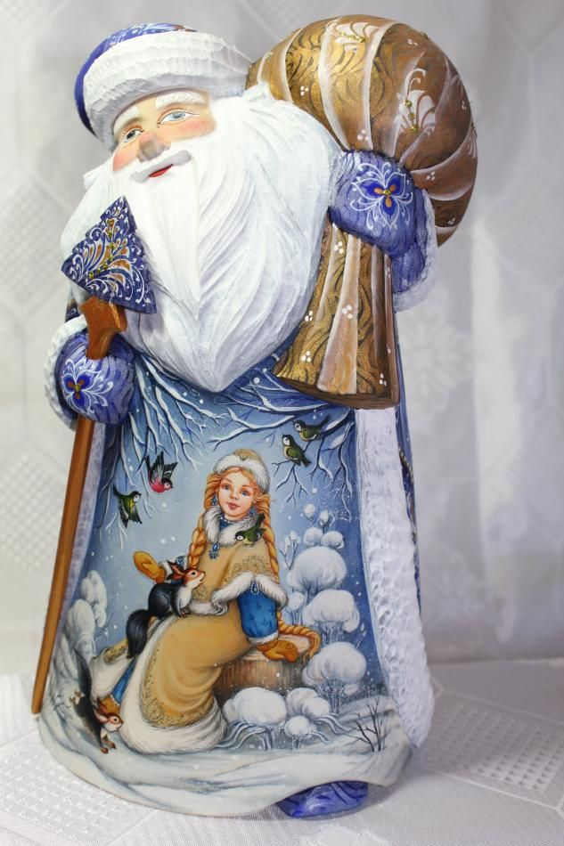 Russian hand carved and painted Santa Cluas