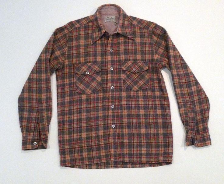 Plaid Wool Shirt Jacket Vintage Golden Line Work Shirt