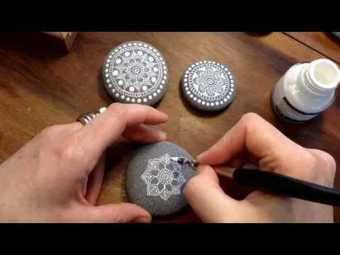 Mandala Painted Pebble by MagaMerlina - Mandala Painted Stones. (video instructions)