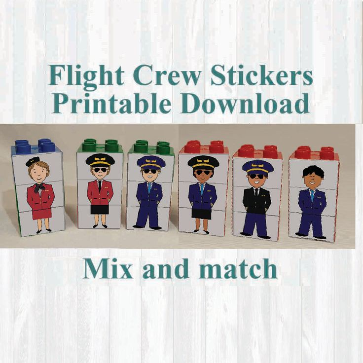 Pilot and Flight Attendant Stickers, Fridge magnets, Building blocks. Fits on Lego, Instant digital download Printable by MoonGloCreations on Etsy