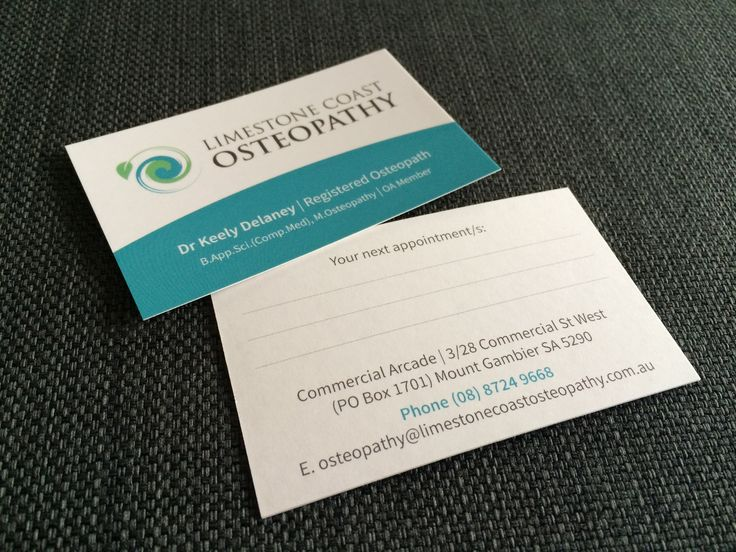 Business cards for Limestone Coast Osteopathy. #businesscards #osteopathy #juliareader #printing