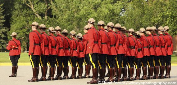The Sunset Retreat Ceremony at the Royal Canadian Mounted Police 'Depot' Division in Regina, Saskatchewan, Canada. Photo by Stuart Forster.