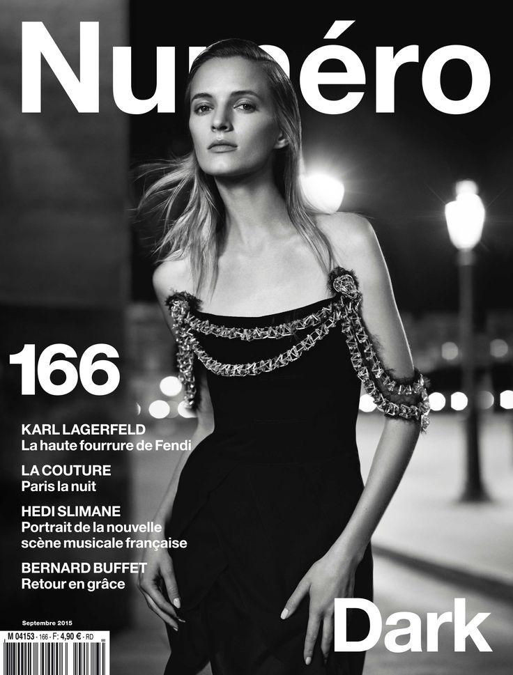 Cover story : Daria Strokous photographiée par Nathaniel Goldberg en robe Chanel Haute Couture pour le Numéro Dark | Numéro Magazine