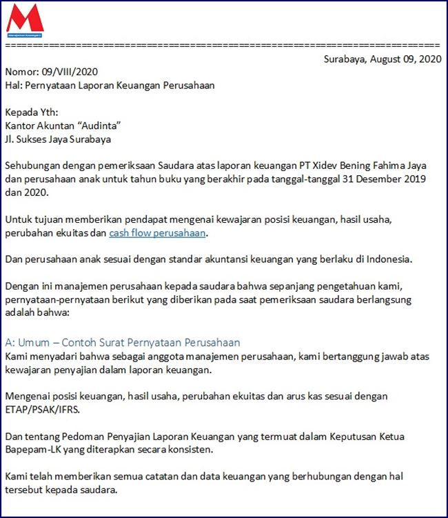 Contoh Surat Pernyataan Perusahaan Indonesia Dan Inggris Surat Keuangan Buku