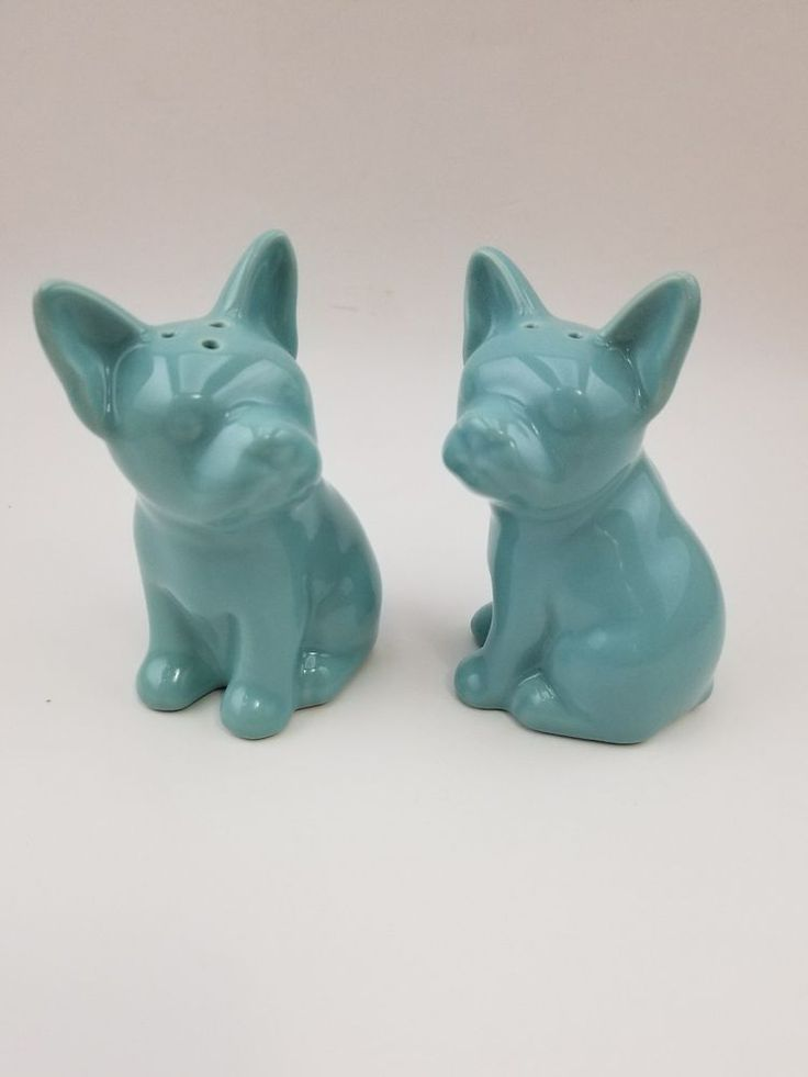 FRENCH BULLDOG BOSTON TERRIER SALT PEPPER SHAKER SET BLUE TURQUOISE DOG PUPPY | Collectibles, Kitchen & Home, Kitchenware | eBay!