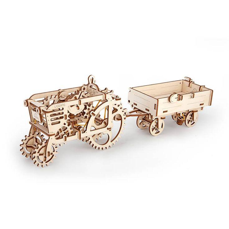 Mechanisch houten bouwpakket tractor met aanhangwagen