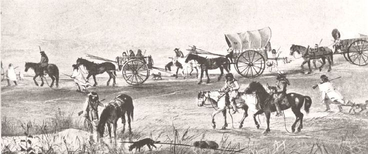 leaving for fall hunt William Armstrong, pen and ink sketch, showing Métis leaving on the fall hunt, drawn at some point after Armstrong arrived at the settlement as a member of Wolseley's Red River Expeditionary Force.