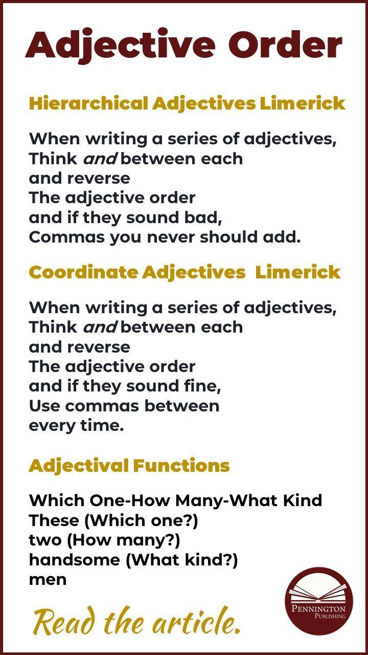 English Adjective Order In 2020 Adjectives English Adjectives Coordinate Adjectives