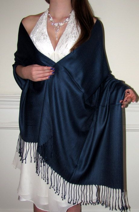 Navy pashminas for wedding gifts bridesmaids shawls
