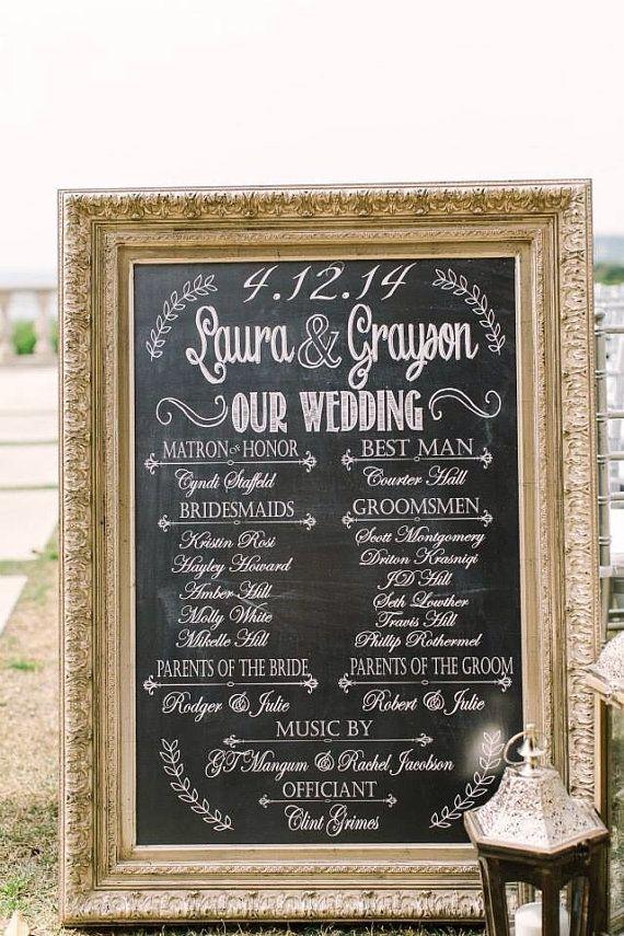 Wedding Program Poster Bridal Party Sign Chalkprint Program