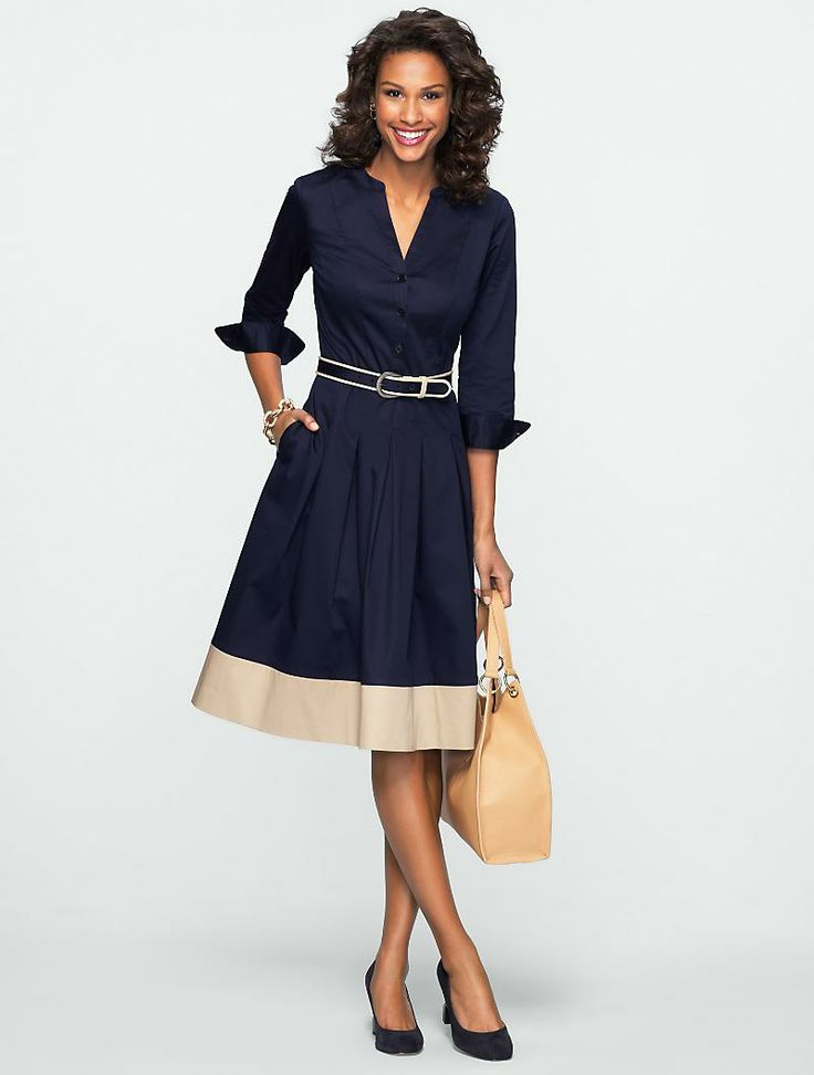 Talbots - Blocked-Hem Shirtdress | New Arrivals | Misses