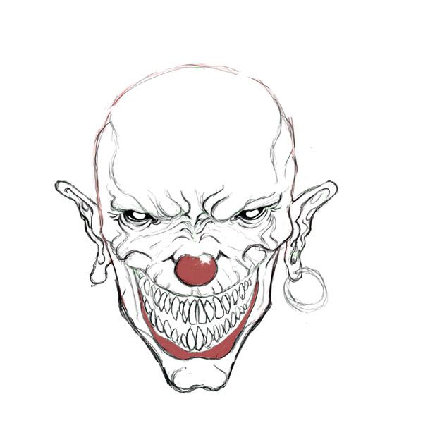 Evil Skull Coloring Pages Evil Clown Drawings Drawing
