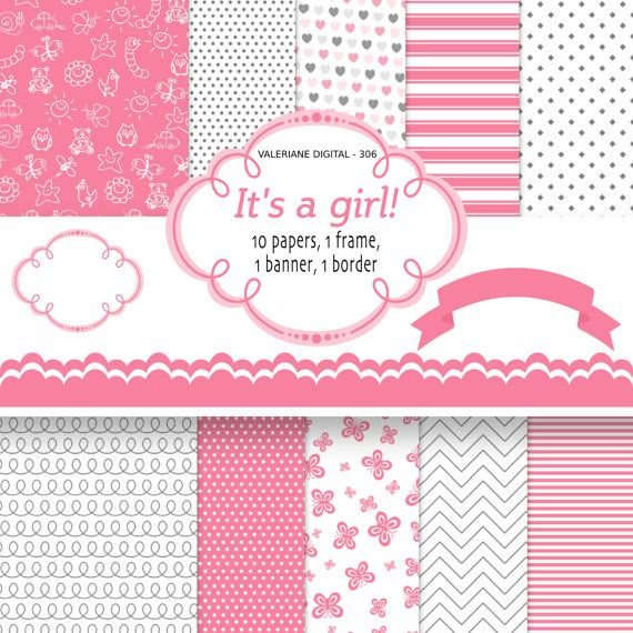 Baby Girl Digital Paper INSTANT DOWNLOAD Pink by ValerianeDigital  https://www.etsy.com/listing/106990385/baby-girl-digital-paper-instant-download?ref=shop_home_active_24