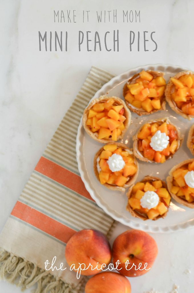 Delicious and EASY mini peach pies. Perfect for baking with little ones!