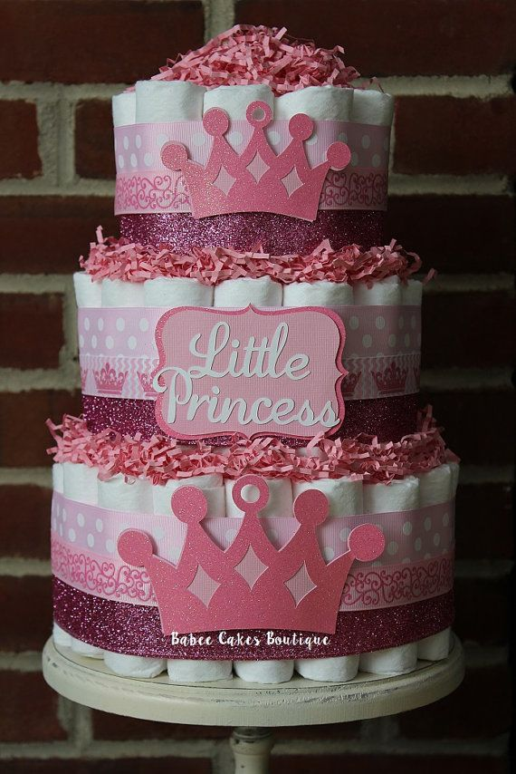 3 Tier Pink Princess Diaper Cake Girl Baby by BabeeCakesBoutique