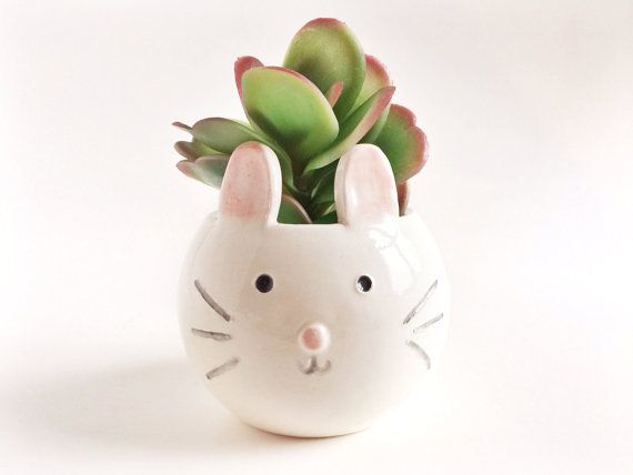 Bunny Planter Succulent Planter Small Animal by PotteryLodge - etsy